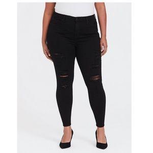 TORRID Sky High Skinny Distressed Black Jeans 20T